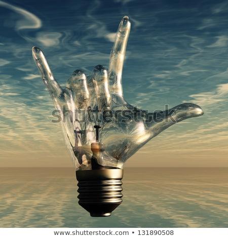電球 岩 光 ランプ ぬれた ストックフォト © bonathos
