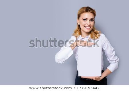 Souriant femme d'affaires carte vierge bureau affaires Photo stock © deandrobot