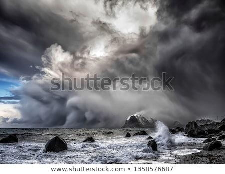stormachtig · kust · storm · strand · natuur · zee - stockfoto © all32