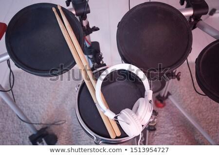 барабан · фон · металл · рок · черный · золото - Сток-фото © oleksandro