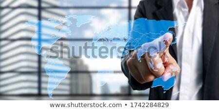 Felhő megoldás személy kattintás billentyűzet gomb Stock fotó © tashatuvango