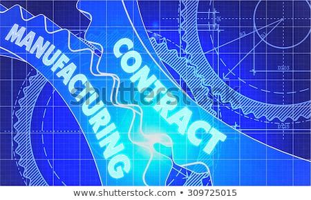 multinationaal · blauwdruk · versnellingen · industriële · ontwerp · 3d · illustration - stockfoto © tashatuvango