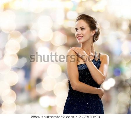 Nő estélyi ruha közelkép gyönyörű nő divat háttér Stock fotó © dolgachov
