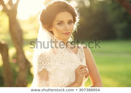 elegante · vrouw · bruid · witte · jurk · poseren - stockfoto © bezikus