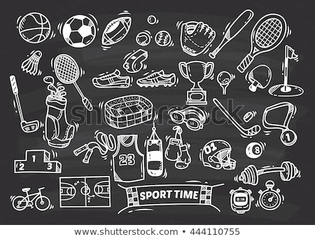 hockey helmet icon drawn in chalk stock photo © rastudio