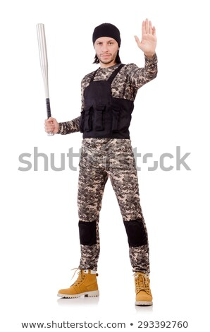 Fiatalember katonai egyenruha tart denevér izolált fehér Stock fotó © Elnur