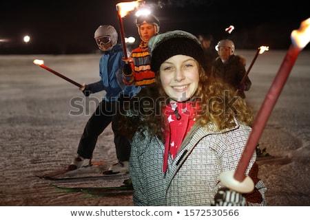 sorridente · menina · esqui · jovem · bela · mulher · mulheres - foto stock © aikon