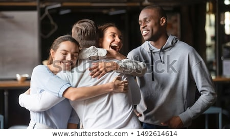 girl embraces fellow on the the white Stock photo © Paha_L
