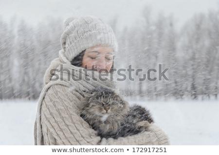 girl under snow stock photo © hasloo