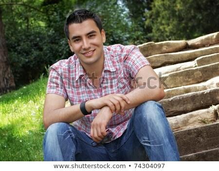 Photo stock: Jeune · homme · séance · escaliers · bâtiment · moderne · affaires · homme