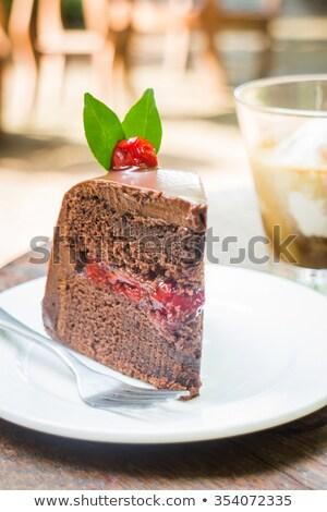 Eszpresszó fekete erdő torta stock fotó Stock fotó © nalinratphi