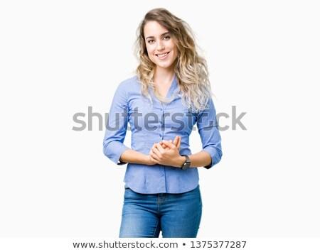 Otimista mulher de negócios belo caucasiano em pé Foto stock © dash