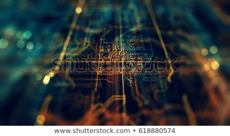 Groene circuit board microprocessor ander elektronische onderdelen Stockfoto © smuki