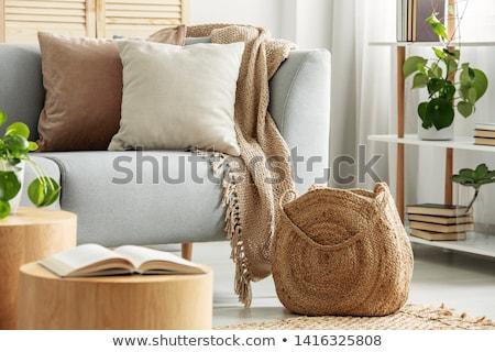 диване · изолированный · белый · кровать · ткань - Сток-фото © kitch
