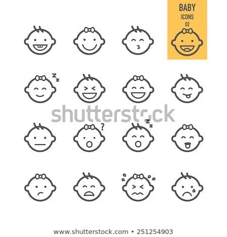 Cute ребенка лице эмоций икона иллюстрация Сток-фото © kiddaikiddee