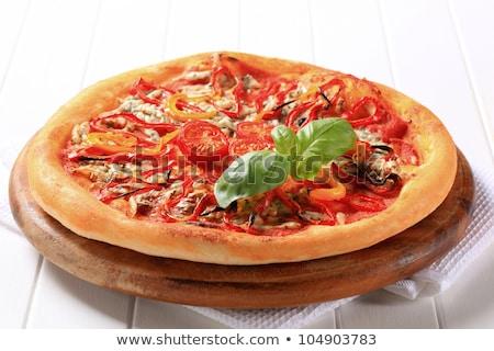 Queijo azul pizza tiras pimenta topo caseiro Foto stock © Digifoodstock
