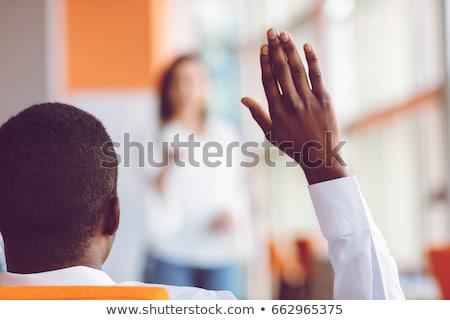 meisje · opgeheven · handen · vector · silhouet · haren · zonsopgang - stockfoto © rastudio
