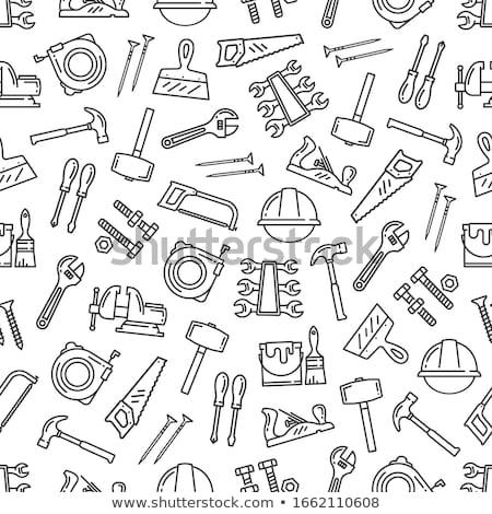 sin · costura · construcción · mano · herramientas · patrón · casa - foto stock © trikona