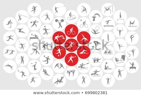 Bírkózás ikon piros illusztráció sport terv Stock fotó © bluering