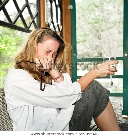 женщину · плачу · стекла · вино - Сток-фото © stockfrank