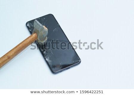 törött · fehér · üveg · fa · számítógép · telefon - stock fotó © traza