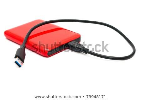 Rood harde schijf witte computer kabel digitale Stockfoto © magraphics