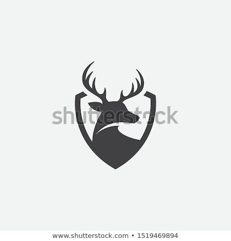 Logo Moose head on a shield. Emblem for  hunting Club. Vector il Stock photo © popaukropa