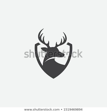Foto d'archivio: Logo · Moose · testa · scudo · emblema · caccia