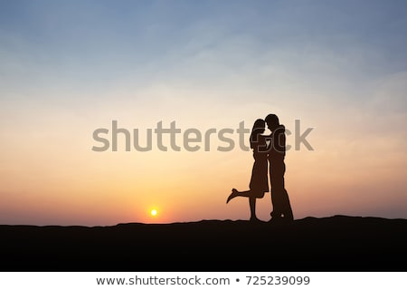 vintage · personnes · silhouettes · blanche · femme · couple - photo stock © jawa123