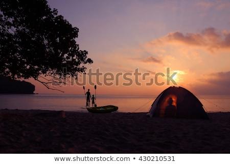 Enfants camping île illustration plage fille Photo stock © bluering