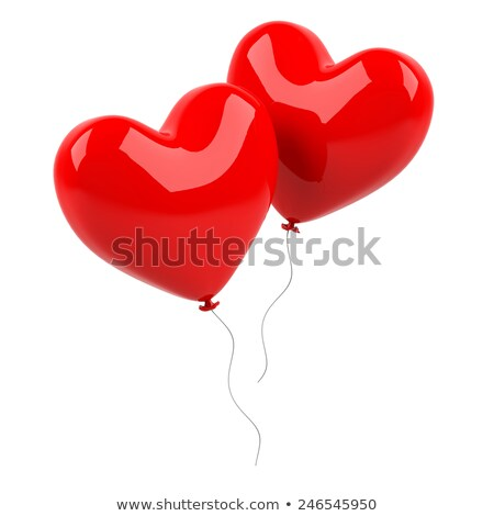Foto stock: Dois · isolado · coração · branco · 3D · imagem