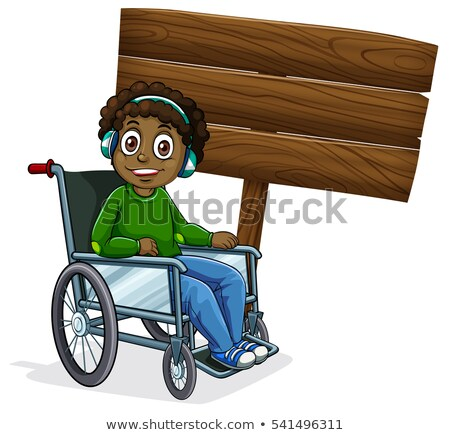 wooden sign template with african american boy on wheelchair vector