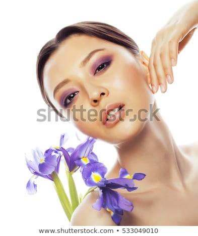 fiatal · csinos · ázsiai · nő · virág · lila - stock fotó © iordani