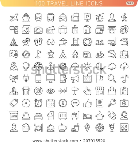 camping and hiking   line icons set stock photo © decorwithme