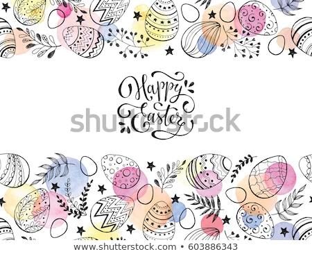 Pâques décoration cadre tulipes bois fleurs Photo stock © -Baks-