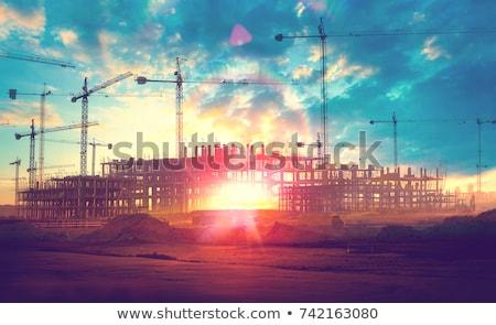 строительство крана закат кабины здании Сток-фото © tracer