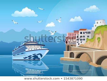 дома морем лет морской пейзаж острове Греция Сток-фото © ankarb