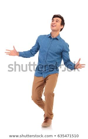 カジュアル · 若い男 · グレー · 笑顔 · 男 · 壁 - ストックフォト © feedough