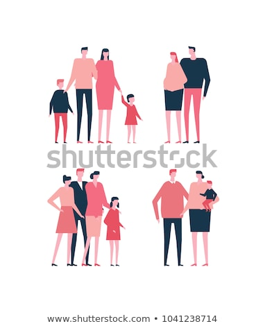 Stock photo: Family - colored modern flat illustration composition.