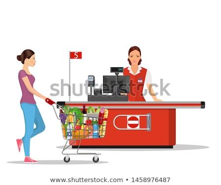 Ilustracja supermarket kasjer cute żywności pracy Zdjęcia stock © adrenalina