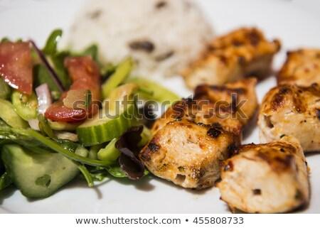Tyúk kebab fehér rizs ágy fa Stock fotó © Digifoodstock