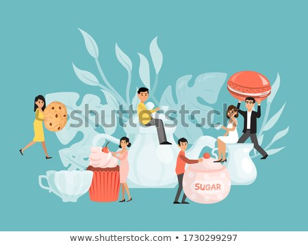 Asian zakenman beker thee theepot vector Stockfoto © NikoDzhi