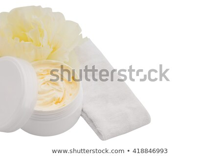Spa cosmetic cream, headband and flower, isolated on white Stock photo © julenochek