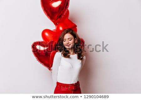 fashion photo of beautiful woman with balloons girl posing studio photo stock photo © sibstock