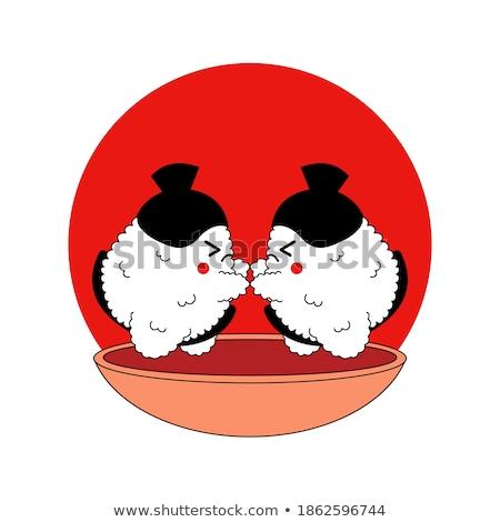 Sushi karakter samurai ontwerp japans krijger Stockfoto © jossdiim