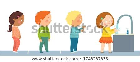 Foto d'archivio: Giovani · ragazze · piedi · lavaggio · line · bambino