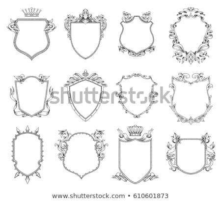 Foto stock: Vector Monochrome Medieval Shields Set