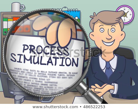 Process Improvement through Magnifying Glass. Doodle Design. Stock photo © tashatuvango