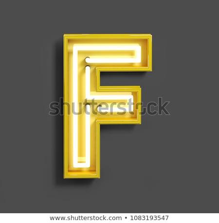Photo stock: Néon · tube · lettre · jaune · 3D