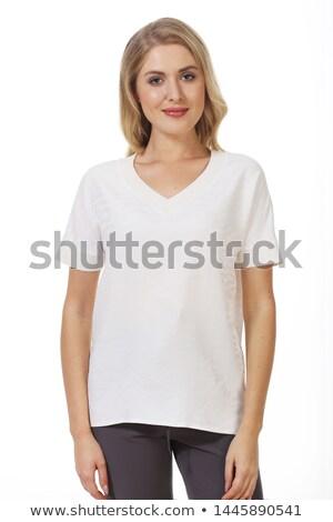小さな 白 ショートパンツ シャツ ポーズ ストックフォト © feedough